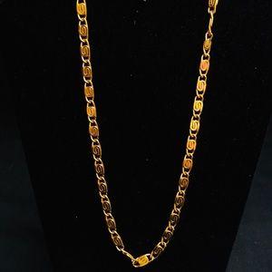 Vintage Monet Gold Tone Necklace, Spiral Links